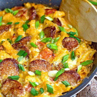 Creamy Mexican Pasta with Smoked Sausage Skillet Dinner
