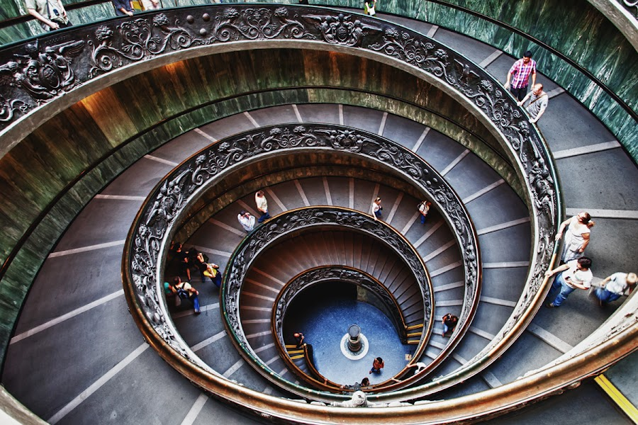 Way Out by Jun  Gomez - Buildings & Architecture Other Interior ( hdr, staircase, vatican, spiral )