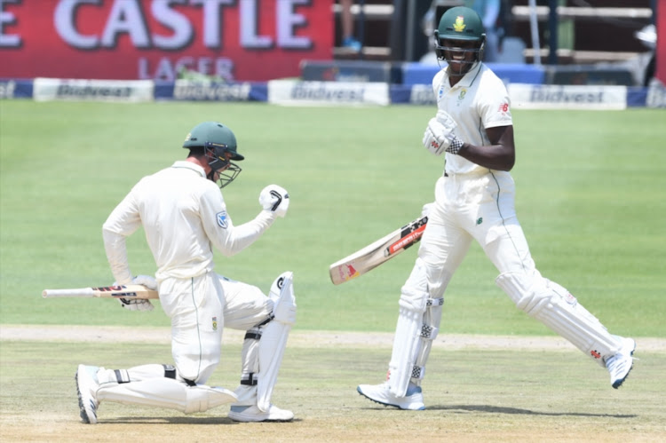 Quinton de Kock of the Proteas celebrates his 100 runs during day 3 of the 3rd Castle Lager Test match between South Africa and Pakistan at Bidvest Wanderers Stadium on January 13, 2018 in Johannesburg, South Africa.