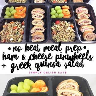 No Heat Meal Prep - Ham & Cheese Wrap + Greek Quinoa Salad