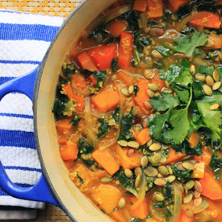 Vegan Curry Butternut Squash Soup With Kale.