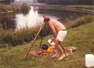 Photo: Erstes Lagerfeuer (bei Salzbergen, Ems, 1979)