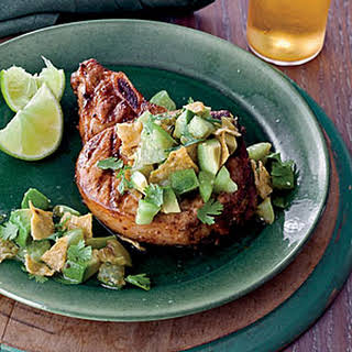Grilled Chile Pork Chops with Tortilla-Tomatillo Salsa.