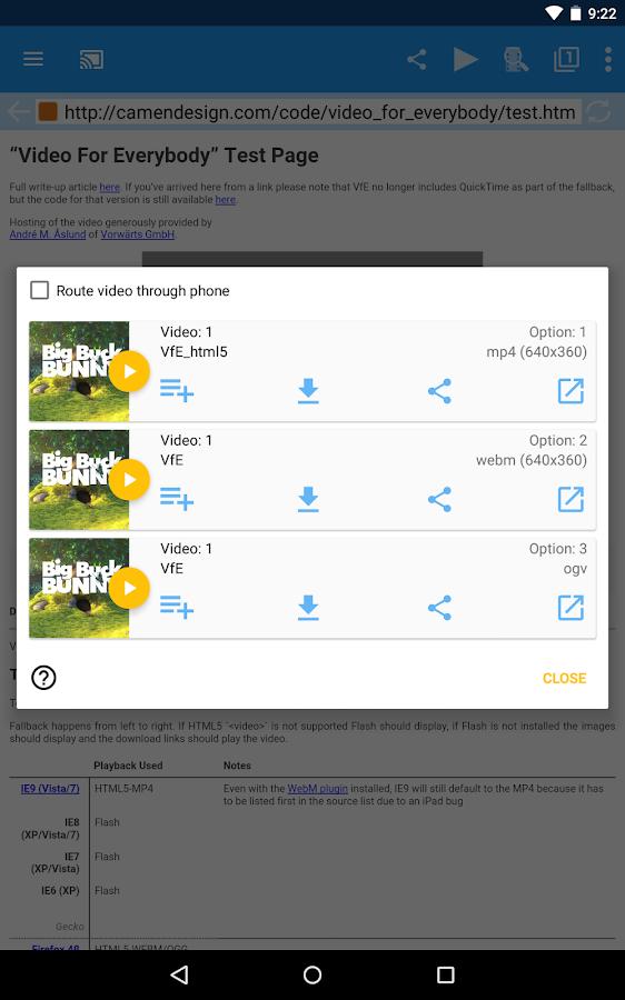 WebVideoCaster Chromecast/DLNA- screenshot