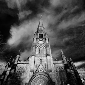Callander by Colin Wood - Novices Only Objects & Still Life ( spire, church, black and white,  )
