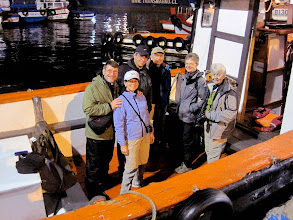 Photo: Day 3 - 11/16/2011 - Vina del Mar, Chile - Early-morning  departure on a pelagic trip L-R Wilfried, Heather,  Santiago, Randy, Deanna, Edie