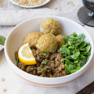 Lentils with Curry Turkey Meatballs and Lemon Spinach.