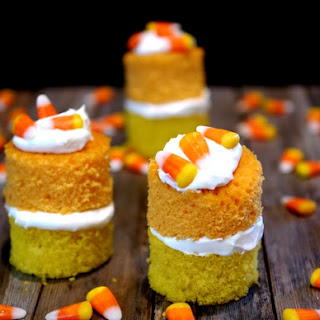 Candy Corn Cake with Marshmallow Cream Frosting