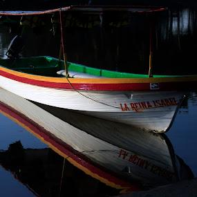 Boat Reflection by Cristobal Garciaferro Rubio - Transportation Boats ( reflection, boat, pwcmirror-dq )