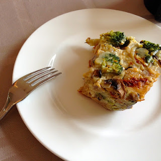 Broccoli, Mushroom, and Sun Dried Tomato Strata.
