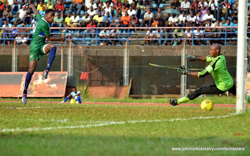 Photo: Khalifa Jabbie scores to put the Leone Stars 1-nil ahead [Leone Stars v Seychelles, Freetown, 19 July 2014 (Pic: Darren McKinstry)]