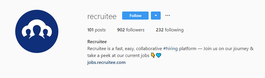 recruitee instagram bio recruiting