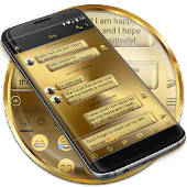 SMS Messages Metal Solid Gold Theme