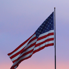 Old Glory at Sunset #3 by Tony Huffaker - Artistic Objects Other Objects ( utah, symbol, flag, city, sunset )