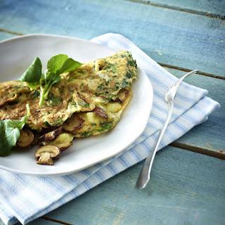Watercress and Mushroom Omelet.