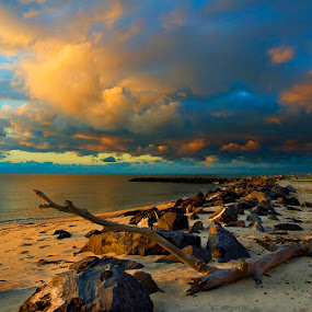 Island Sunrise by Alabama Photos - Landscapes Waterscapes ( clouds, ocean, gulf of mexico, sunrise, beach, island )