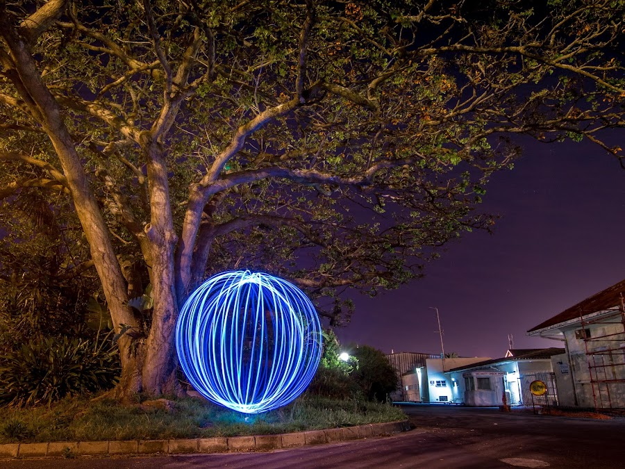 ~~~ Orb under a tree~~~ by Shane Ashby - Abstract Light Painting ( blue light, light orb, tree, unusual, night, aliens, light, sphere, painting, ball )