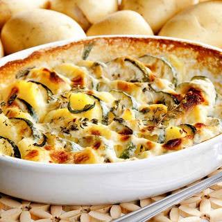 Roasted Potatoes & Zucchini Bake Recipe in a Creamy Parsley Sauce Recipe