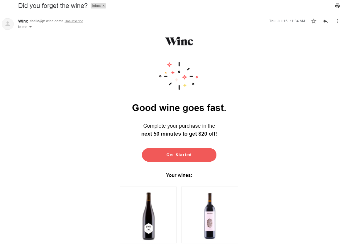 abandoned cart email from Winc