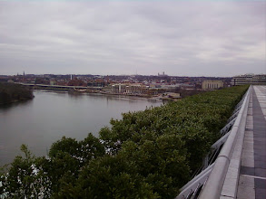 Photo: You can take an elevator to the roof of the KC, which I always do to admire the riparian view. That's Georgetown, with the National Cathedral on the skyline. Need I mention that the body of water is the Potomac?