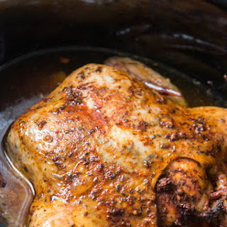 Tender Slow Cooker Whole Chicken.