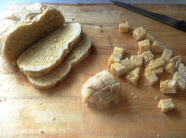 Cut into small slices.Cut these slices onto cubes.Reheat the broth, add the cubes and...