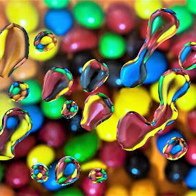 SWEET TOOTH by Russell Mander - Abstract Water Drops & Splashes ( sweets, water splah, abstract colours., colours )