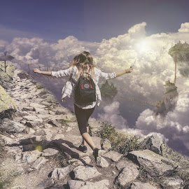 Over the clouds. by Catalin Mustata - Illustration Sci Fi & Fantasy ( fantasy, clouds, flying, girl, happy )