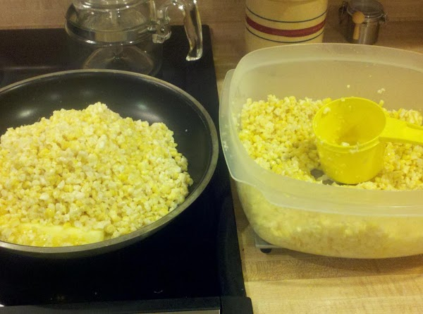 Cut and scrap the corn from the cob. Place into a large bowl to...