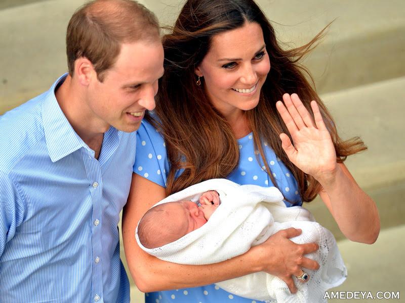 Принц Уильяма и Кэтрин Миддлтон с новорожденным