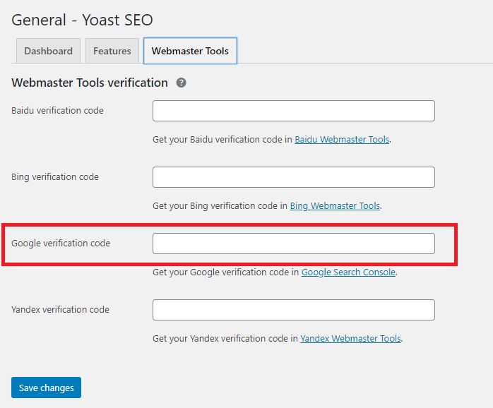 """General"" settings section in YOAST SEO settings in WordPress."