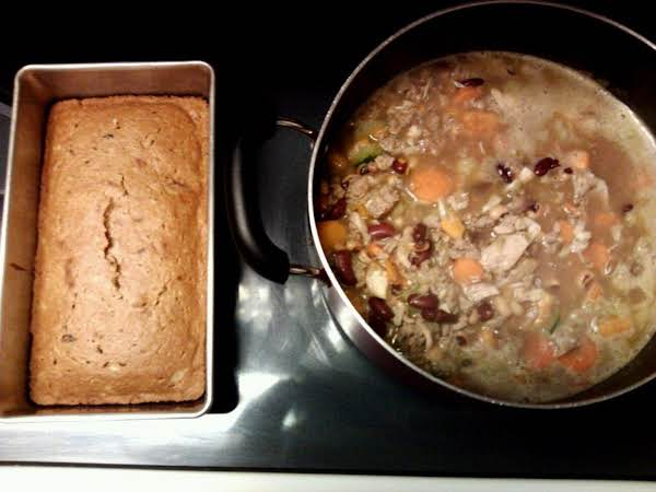 Sweet Potato And Turkey Summer Soup With Homemade Zucchini Raison Bread