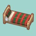 クリスマスチェックのベッド