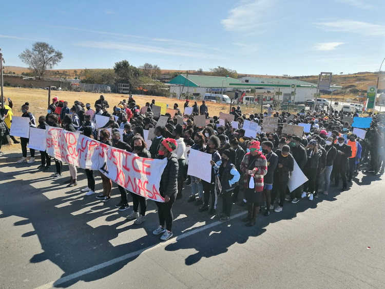 Anti-gender-based violence activists gathered at court before the appearance of the man accused of murdering Wits student Asithandile 'Kwasa' Zozo.
