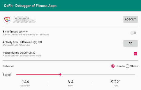 DeFit - Debugger der Apps Fitness Screenshot