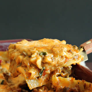 Creamy Chipotle and Italian Sausage Lasagna.