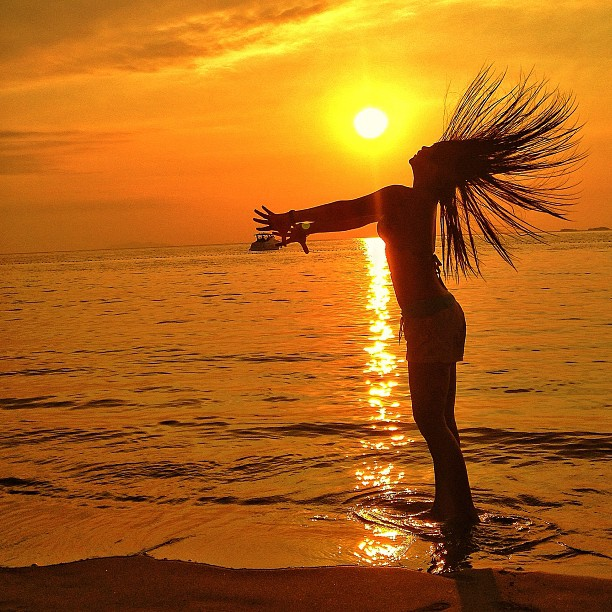 Silhouette by John Henry Macalalad - Instagram & Mobile iPhone ( silhouette, sunset, beach, women, hair )