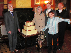 Photo: Chow, Barbara, Ed, Alex, Graham, and a square cake disguised as the Hanging Strawberries of Babylon