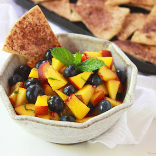 Peach Blueberry Salsa with Baked Cinnamon Tortilla Chips