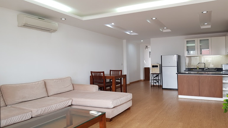 Bright spacious 1 – bedroom apartment with balcony in Van Cao street, Ba Dinh district for rent