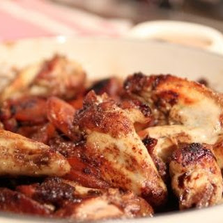 Sweet and Spicy Chicken Wings With Fennel and Apple Coleslaw.