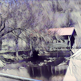 Covered Bridge by Roxanne Dean - Digital Art Places ( patterns, abstract, bridge, water, trees,  )