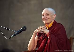 "Photo: Such a moving and inspiring dharma talk tonight. Thanks a lot from my Heart Jetsunma Tenzin Palmo. Topics was ""Letting Go: The Art of Renunciation"". Courtesy of Olivier Adam."