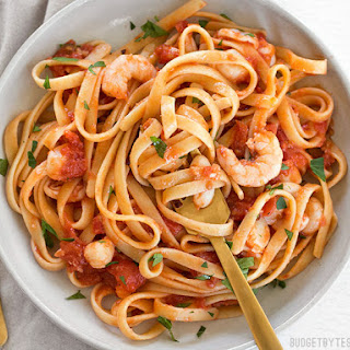 Spicy Seafood Pasta with Tomato Butter Sauce.