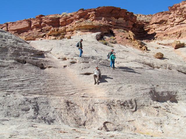 Descending some slickrock