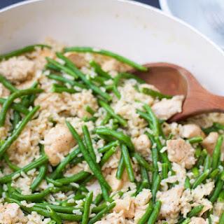 Creamy Garlic Chicken and Green Bean Skillet.