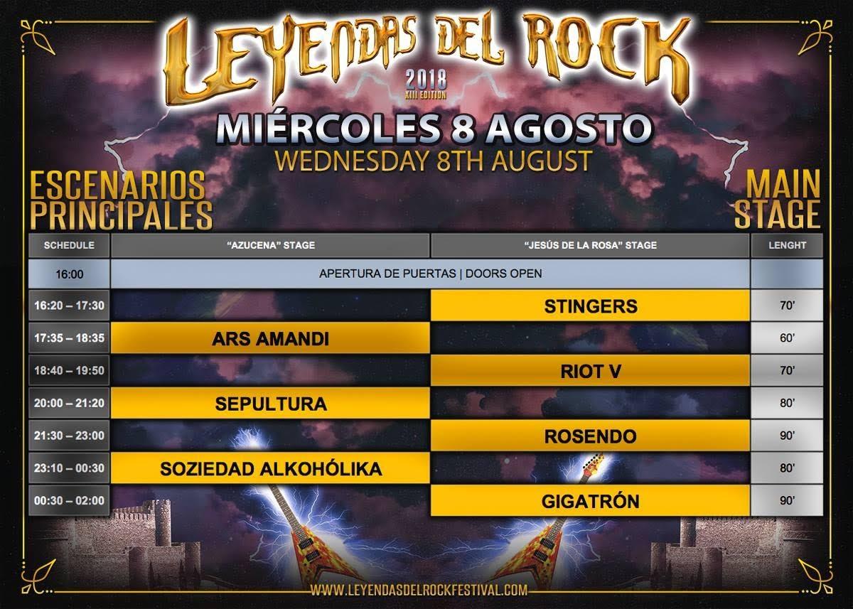 Leyendas del rock 2018 horario