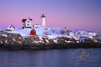 Photo: Winter Nubble, Pastel Sky Nubble Light, Cape Neddick, Maine. Arguably the most photographed lighthouse on the east coast.