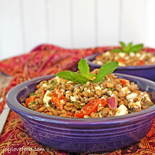 Lentil Salad with Roasted Red Peppers, Feta and Mint.