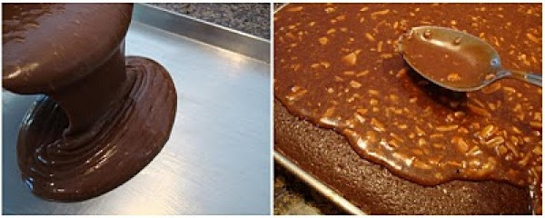FROSTING: Toast Coconut and Almonds, and have setting aside and ready. 1. Bring Butter, Cocoa &...